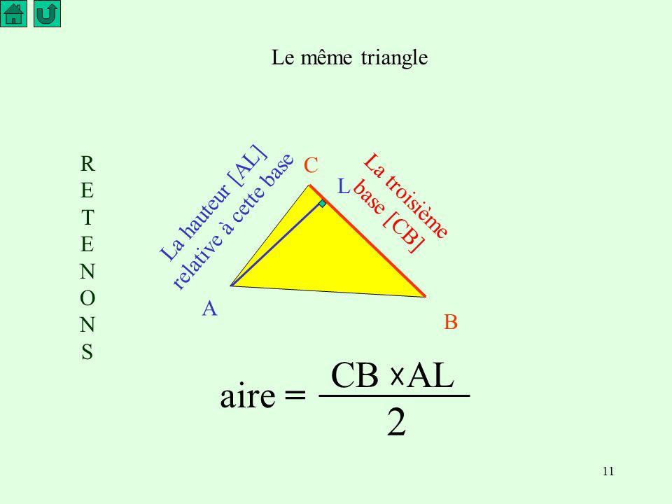 11 Le même triangle La troisième base [CB] La hauteur [AL] relative à cette base A B C L RETENONSRETENONS aire = CB AL 2