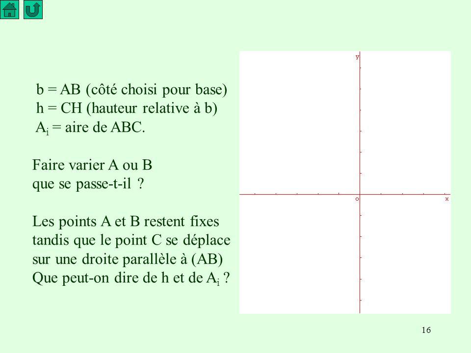 16 b = AB (côté choisi pour base) h = CH (hauteur relative à b) A i = aire de ABC.