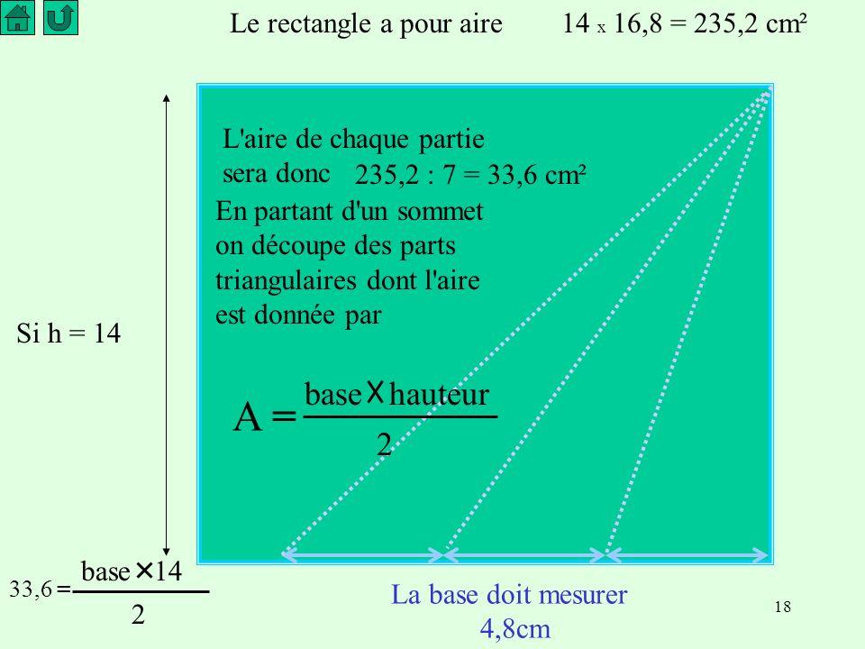18 Le rectangle a pour aire14 x 16,8 = 235,2 cm² L aire de chaque partie sera donc 235,2 : 7 = 33,6 cm² En partant d un sommet on découpe des parts triangulaires dont l aire est donnée par Si h = 14 La base doit mesurer 4,8cm A = base hauteur 2 33,6 = base 14 2