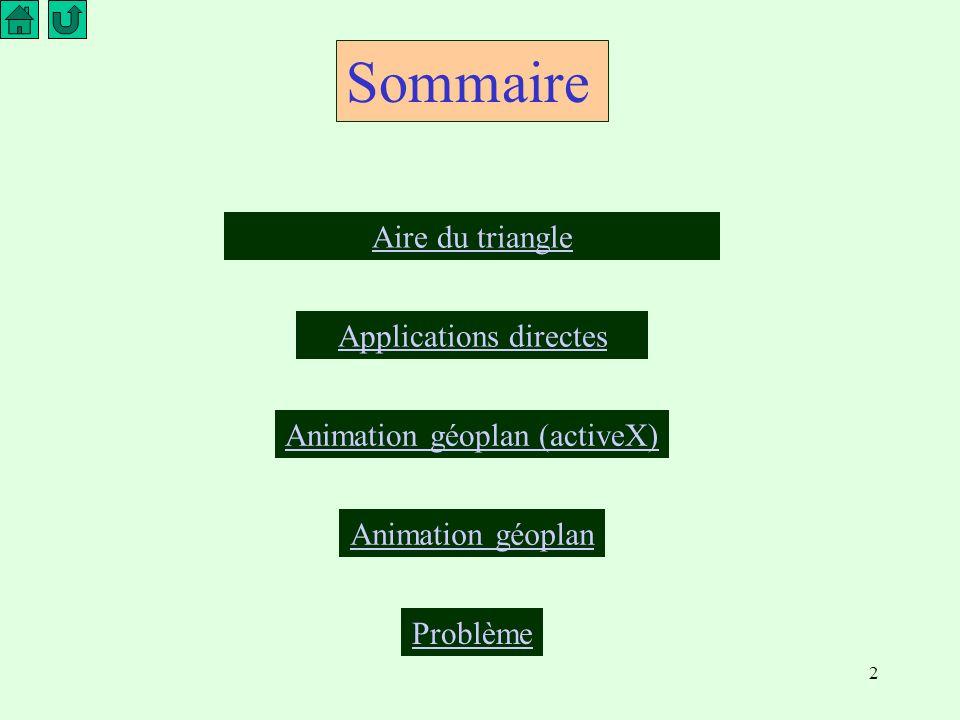 2 Sommaire Aire du triangle Applications directes Animation géoplan (activeX) Animation géoplan Problème
