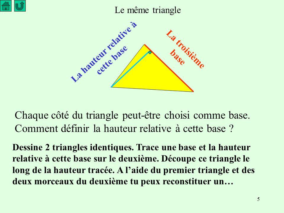 5 Le même triangle La troisième base La hauteur relative à cette base Chaque côté du triangle peut-être choisi comme base.