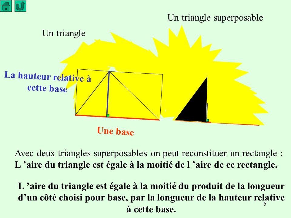 6 Un triangle Un triangle superposable Une base La hauteur relative à cette base Avec deux triangles superposables on peut reconstituer un rectangle : L aire du triangle est égale à la moitié de l aire de ce rectangle.
