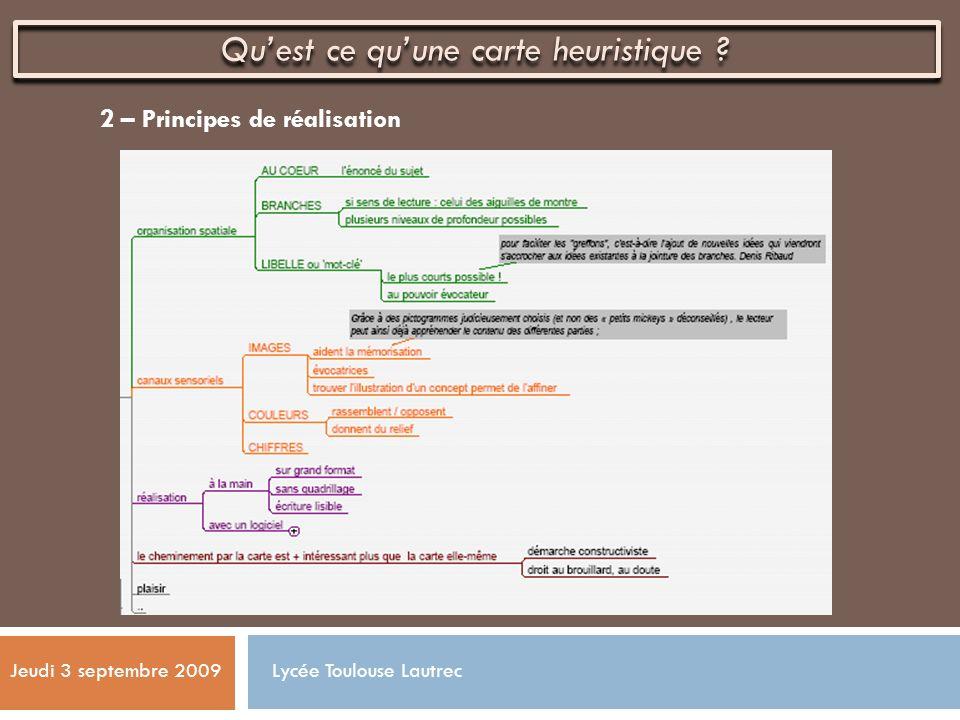 2 – Principes de réalisation Quest ce quune carte heuristique ? Jeudi 3 septembre 2009 Lycée Toulouse Lautrec