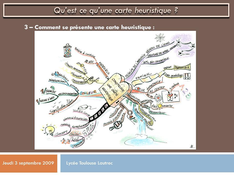 3 – Comment se présente une carte heuristique : Jeudi 3 septembre 2009 Quest ce quune carte heuristique ? Lycée Toulouse Lautrec