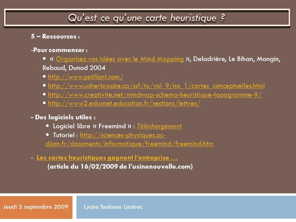 5 – Ressources : -Pour commencer : « Organisez vos idées avec le Mind Mapping », Deladrière, Le Bihan, Mongin, Rebaud, Dunod 2004Organisez vos idées a