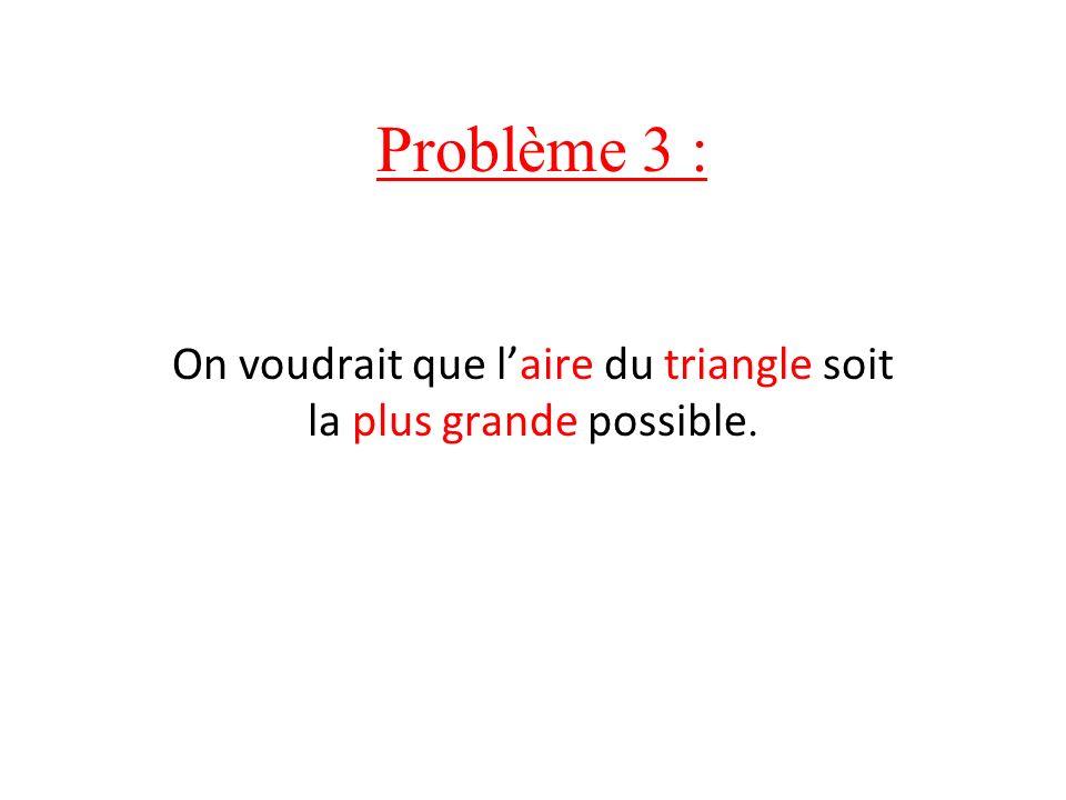 Problème 3 : On voudrait que laire du triangle soit la plus grande possible.
