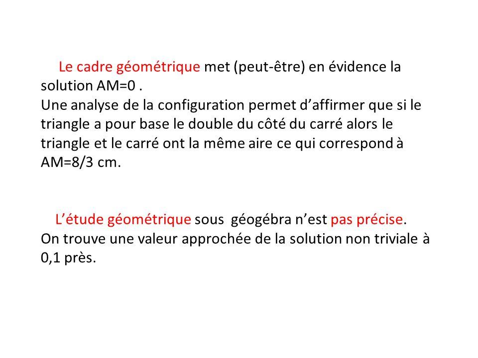 Le cadre géométrique met (peut-être) en évidence la solution AM=0. Une analyse de la configuration permet daffirmer que si le triangle a pour base le