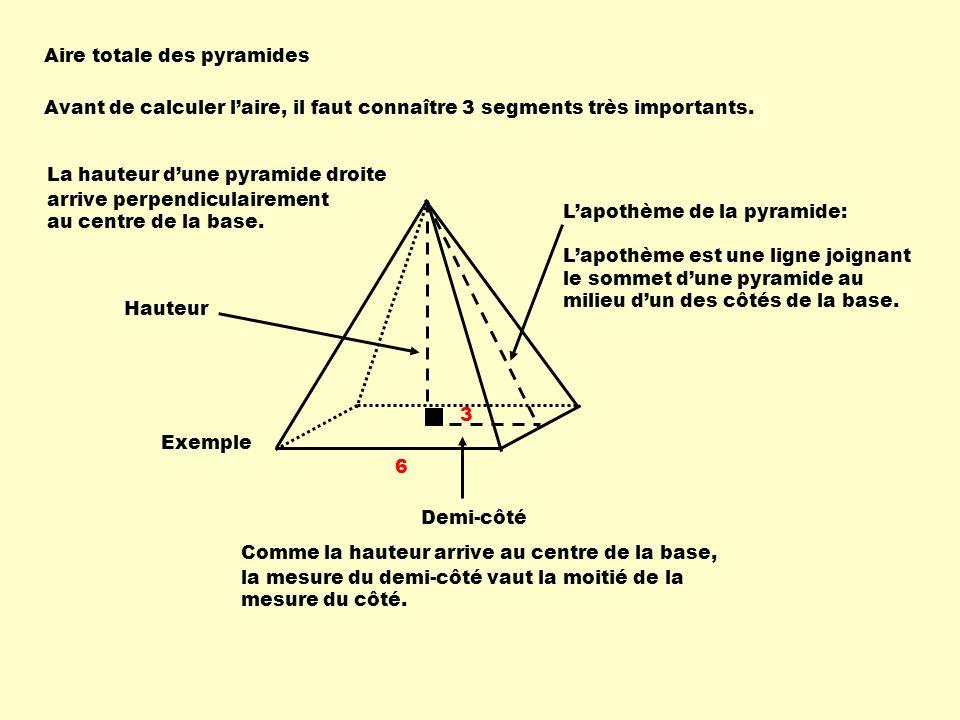 Aire totale des pyramides Avant de calculer laire, il faut connaître 3 segments très importants.