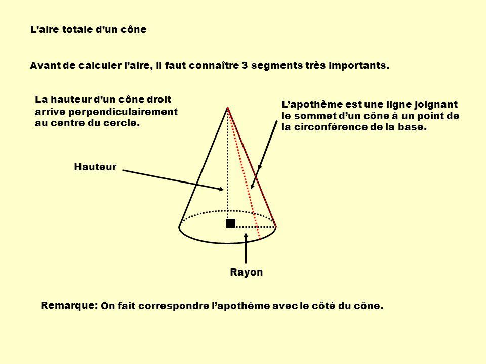Avant de calculer laire, il faut connaître 3 segments très importants.