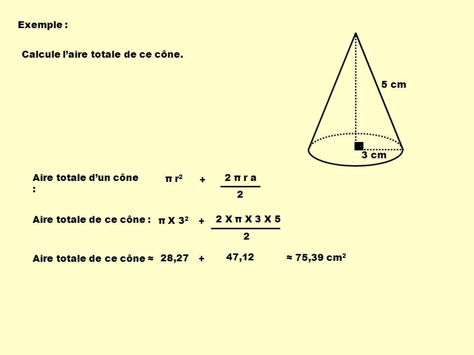 Exemple : 3 cm 5 cm Calcule laire totale de ce cône.