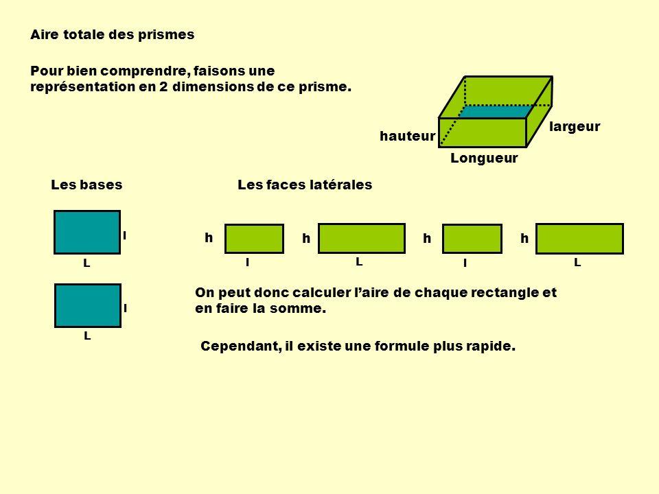 Aire totale des prismes Longueur largeur hauteur 1) Calculer laire des bases :chaque base est un rectangle donc A = L X l ; il y a 2 bases donc laire des deux bases : 2 X L X l.