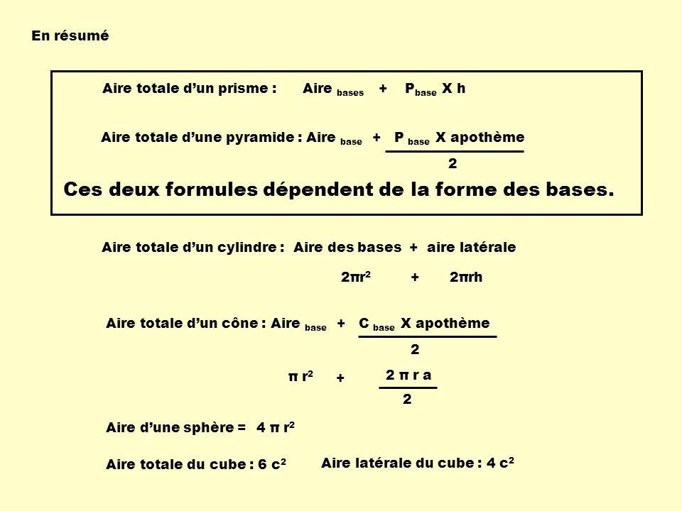 En résumé Aire totale dun prisme : Aire bases + P base X h Aire totale dune pyramide : Aire base + P base X apothème 2 Ces deux formules dépendent de la forme des bases.