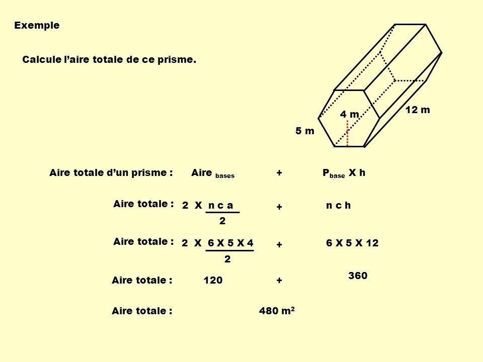 Exemple : Calcule laire de la sphère suivante : r = 5 dm A sphère = 4 π r 2 A sphère = 4 X π X 5 2 A sphère 314,16 dm 2