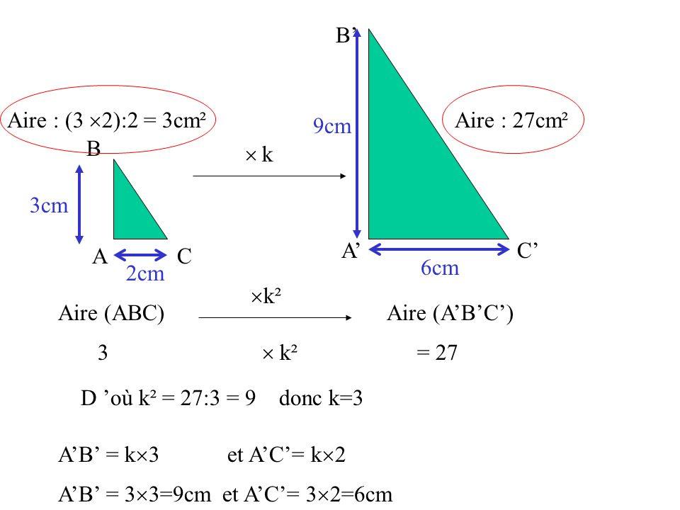 A B C A B C Aire : 27cm² 3cm 2cm k Aire : (3 2):2 = 3cm² Aire (ABC) k² Aire (ABC) 3 k² = 27 D où k² = 27:3 = 9 donc k=3 AB = 3 3=9cm et AC= 3 2=6cm 9c