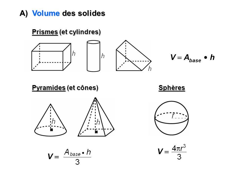 Prismes (et cylindres) V A base h Pyramides (et cônes) V Sphères V