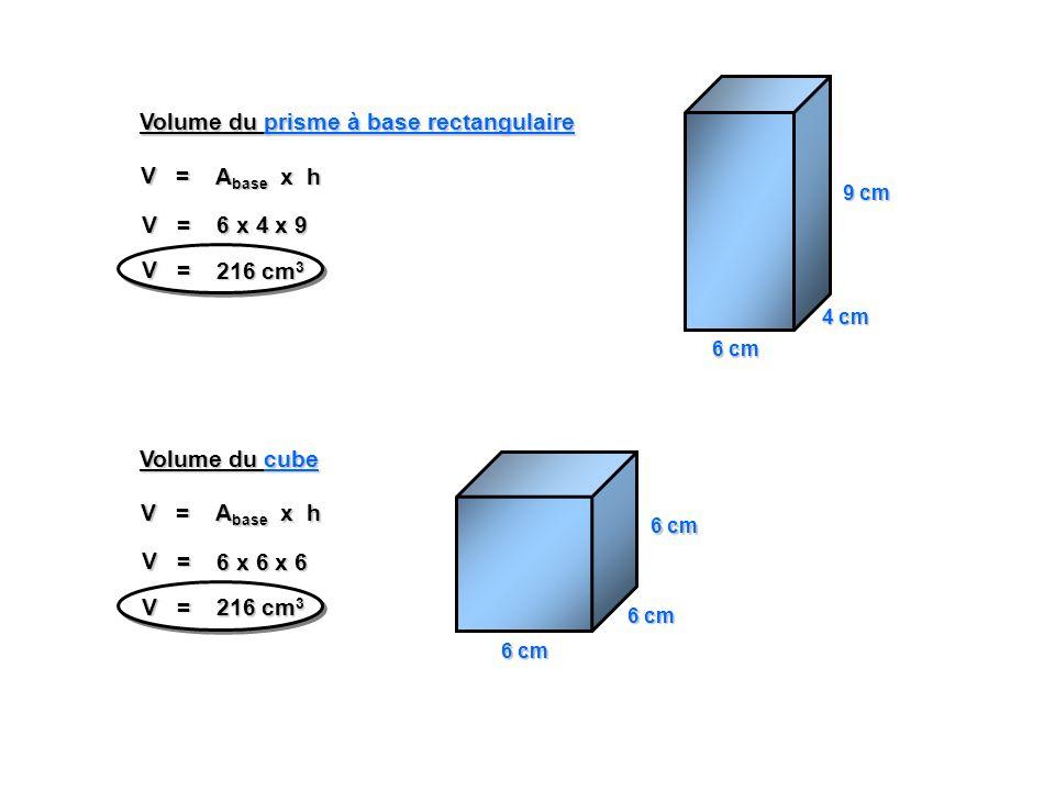 4 cm 9 cm V = A base x h V = 6 x 4 x 9 V = 216 cm 3 Volume du prisme à base rectangulaire 6 cm V = A base x h V = 6 x 6 x 6 V = 216 cm 3 Volume du cube