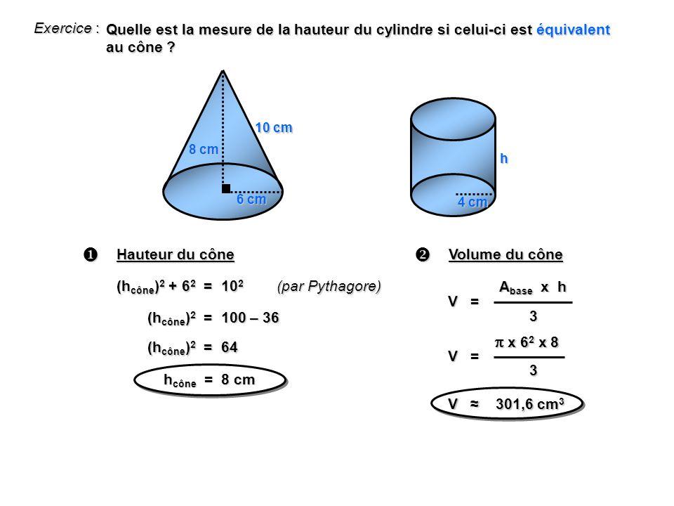 Exercice : Quelle est la mesure de la hauteur du cylindre si celui-ci est équivalent au cône .