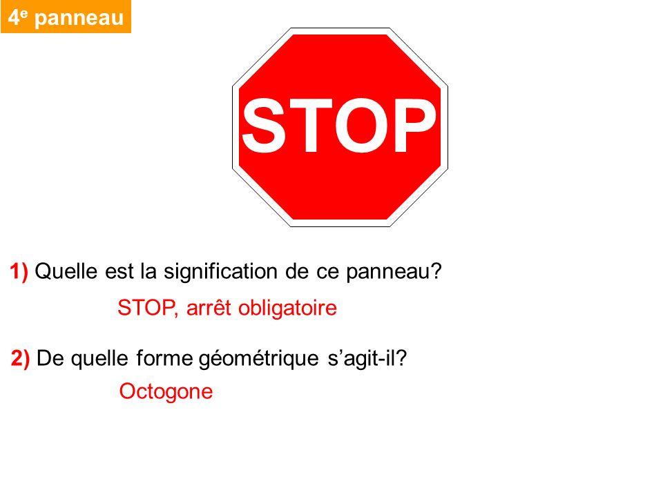 STOP 4 e panneau 1) Quelle est la signification de ce panneau? STOP, arrêt obligatoire 2) De quelle forme géométrique sagit-il? Octogone