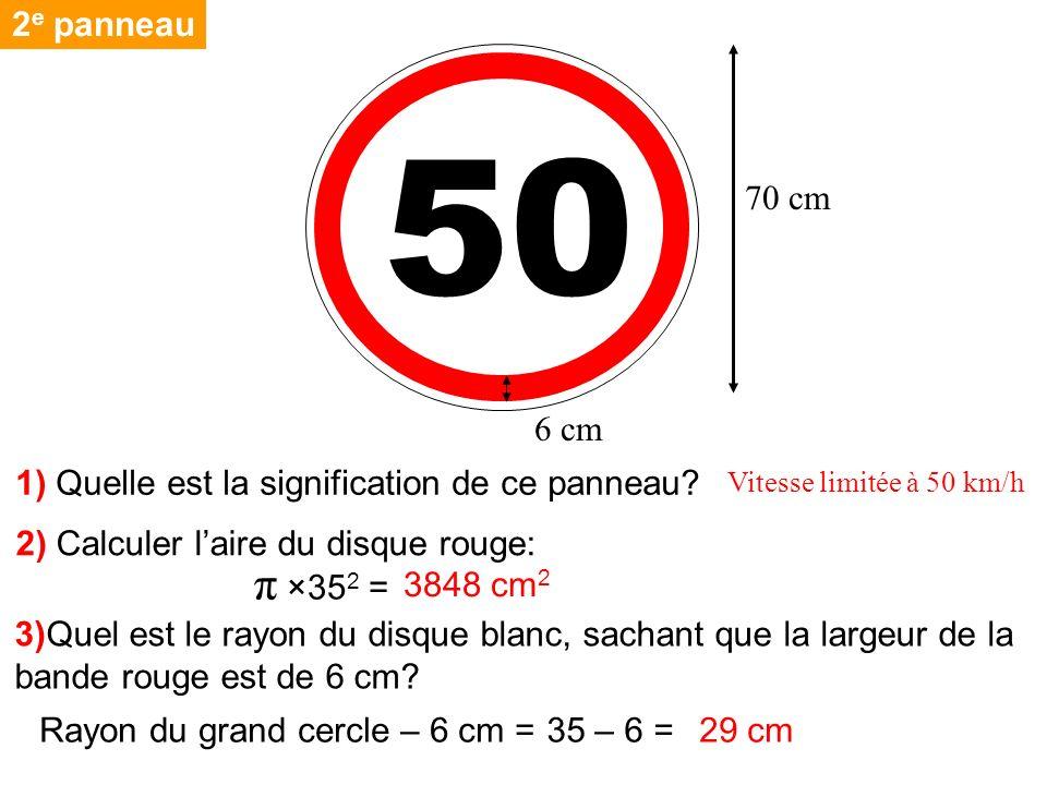 50 2 e panneau 70 cm 2) Calculer laire du disque rouge: 3)Quel est le rayon du disque blanc, sachant que la largeur de la bande rouge est de 6 cm? π ×