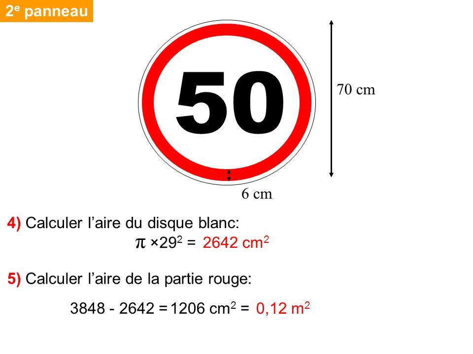 2 e panneau 4) Calculer laire du disque blanc: 5) Calculer laire de la partie rouge: π ×29 2 = 3848 - 2642 = 50 70 cm 6 cm 2642 cm 2 1206 cm 2 = 0,12 m 2