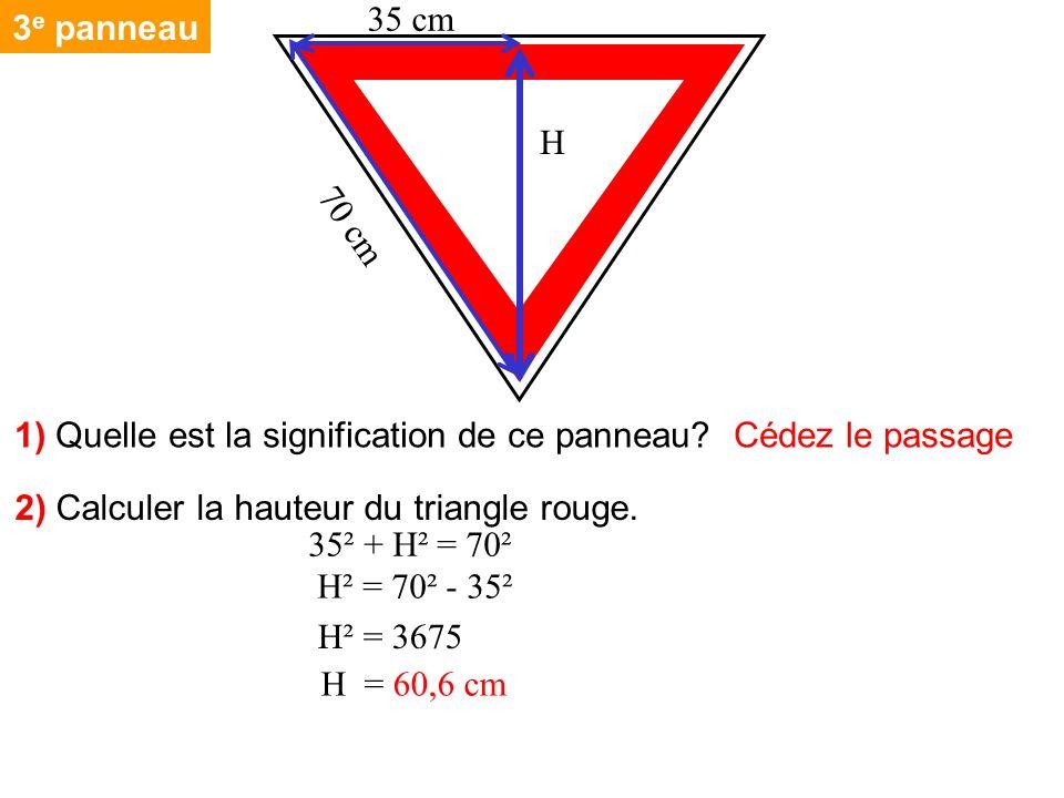 3 e panneau 2) Calculer la hauteur du triangle rouge. 1) Quelle est la signification de ce panneau? Cédez le passage 35² + H² = 70² H² = 70² - 35² H²