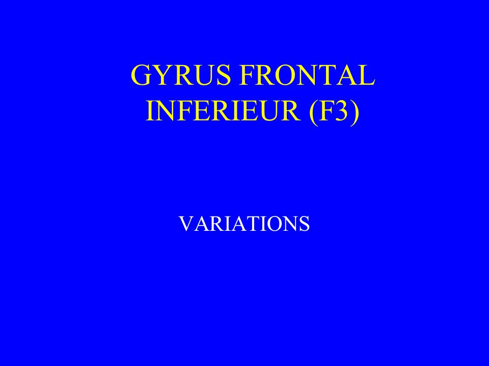 GYRUS FRONTAL INFERIEUR (F3) VARIATIONS