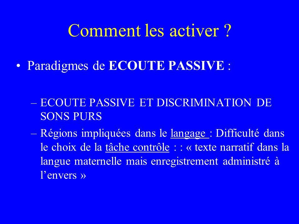 Comment les activer ? Paradigmes de ECOUTE PASSIVE : –ECOUTE PASSIVE ET DISCRIMINATION DE SONS PURS –Régions impliquées dans le langage : Difficulté d