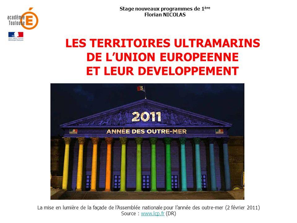 Programme 2002Programme 2010 Thème 3 : La France et son territoire : métropole et DOM-TOM (17 h) Chapitre 1 : Peuplement et répartition de la population française (3 h) Chapitre 2 : Des milieux entre nature et société (5 h) Chapitre 3 : Lespace économique (4 h) Chapitre 4 : Disparités spatiales et aménagement du territoire (5 h) Thème 4 : Les régions en France et en Europe (8 h) Chapitre 1 : Le fait régional, une région dEurope (4 h) Chapitre 2 : Disparités régionales en France et en Europe (4 h) Thème 3 : LUnion européenne : dynamiques de développement des territoires (11-12 h) Chapitre 2 : Les territoires ultramarins de lUnion européenne et leur développement (5-6 h) Le développement dun territoire ultramarin : entre Union européenne et aire régionale (étude de cas) Discontinuités, distances, insularités, spécificités socio- économiques.