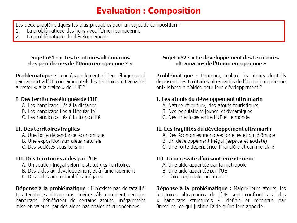Evaluation : Composition Les deux problématiques les plus probables pour un sujet de composition : 1.La problématique des liens avec lUnion européenne