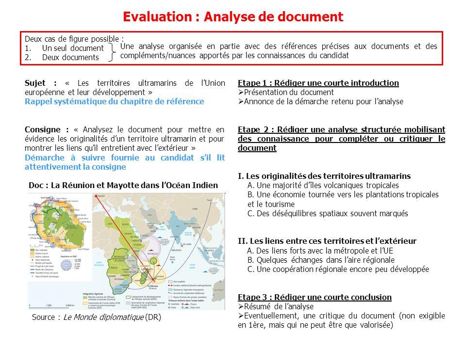 Evaluation : Analyse de document Deux cas de figure possible : 1.Un seul document 2.Deux documents Une analyse organisée en partie avec des références