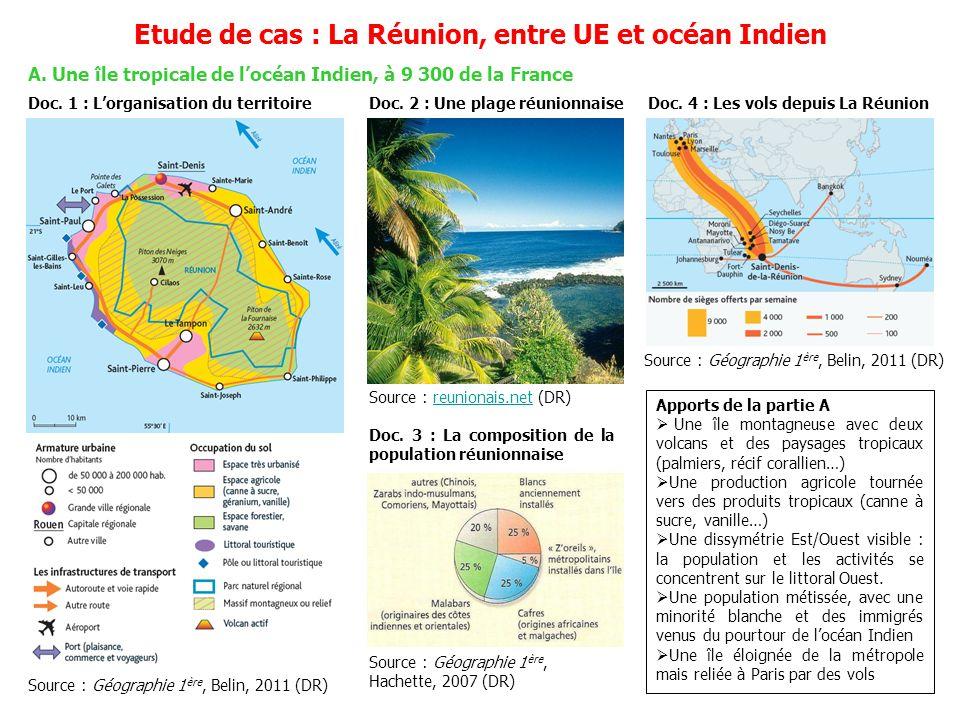 A. Une île tropicale de locéan Indien, à 9 300 de la France Etude de cas : La Réunion, entre UE et océan Indien Doc. 1 : Lorganisation du territoire S
