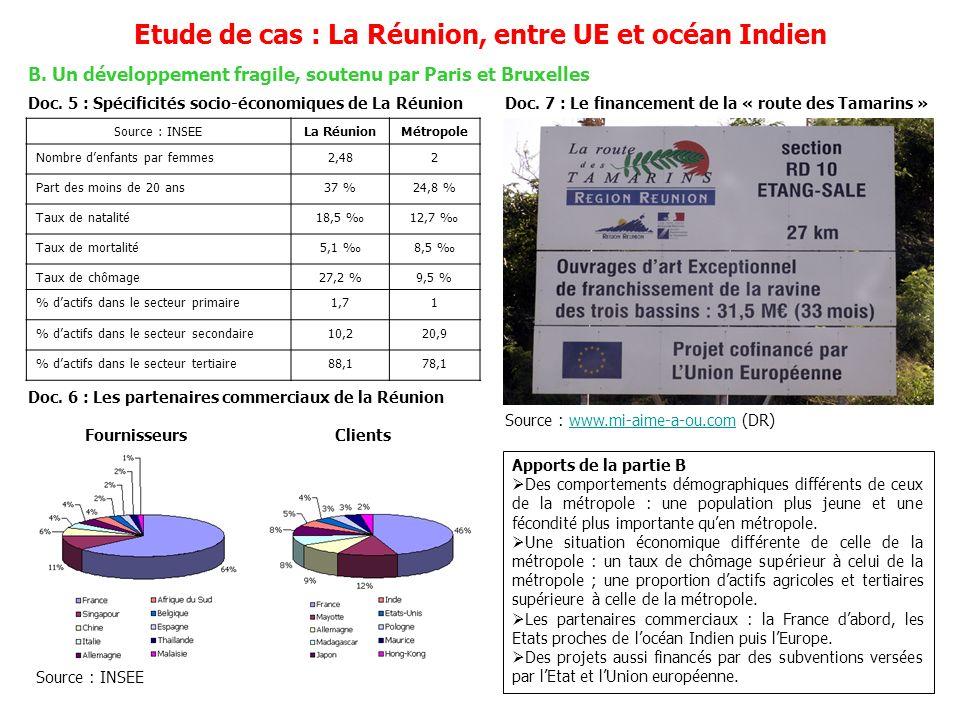 B. Un développement fragile, soutenu par Paris et Bruxelles Etude de cas : La Réunion, entre UE et océan Indien Doc. 5 : Spécificités socio-économique