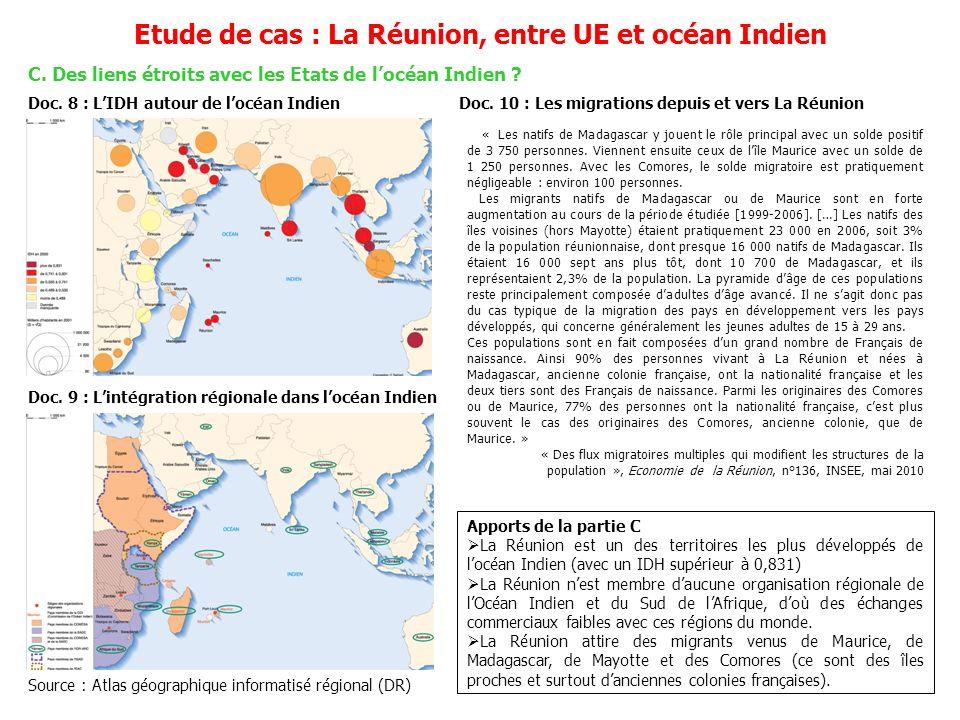 Schéma : La Réunion, entre UE et océan Indien Une île tropicale de locéan Indien, à 9 300 de la France Un développement fragile, soutenu par Paris et Bruxelles Des liens étroits avec les Etats de locéan Indien .