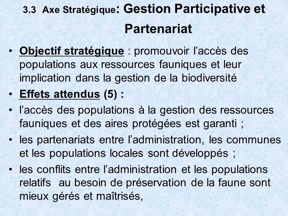 3.3 Axe Stratégique : Gestion Participative et Partenariat (suite effets) les alternatives économiques et alimentaires aux produits fauniques sont développées ; les populations riveraines des aires protégées bénéficient dune partie des revenus générés par les aires protégées.