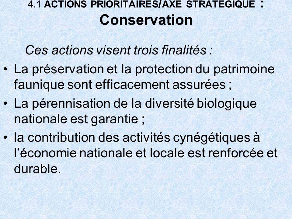 4.1 ACTIONS PRIORITAIRES / AXE STRATEGIQUE : Conservation Ces actions visent trois finalités : La préservation et la protection du patrimoine faunique