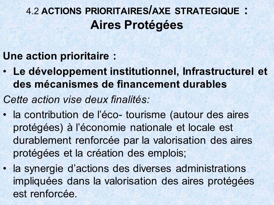 4.2 ACTIONS PRIORITAIRES / AXE STRATEGIQUE : Aires Protégées Une action prioritaire : Le développement institutionnel, Infrastructurel et des mécanism