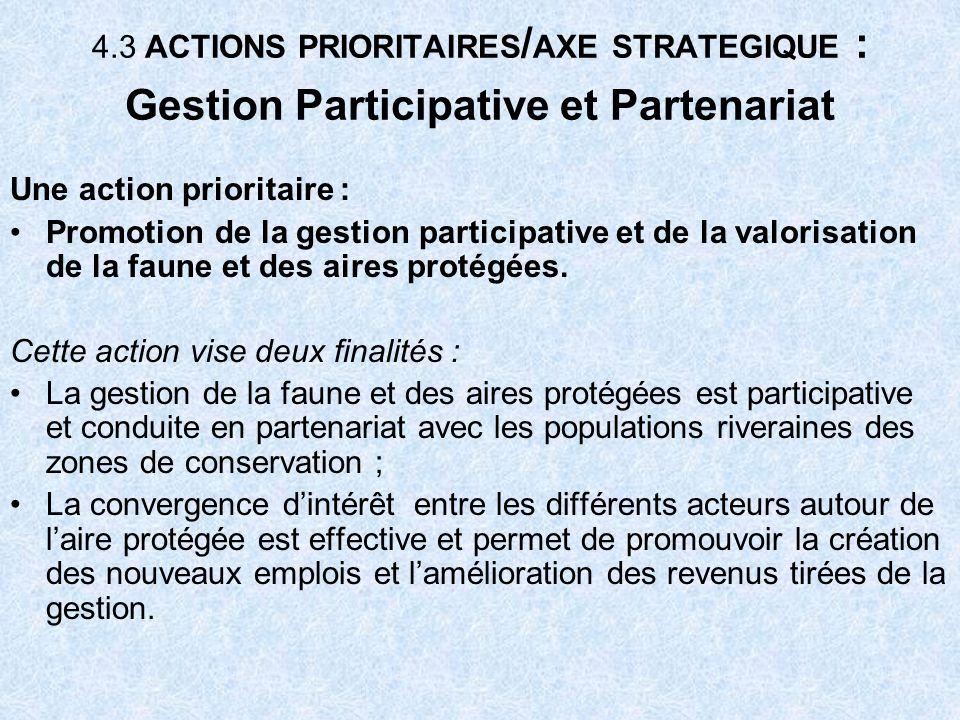 4.3 ACTIONS PRIORITAIRES / AXE STRATEGIQUE : Gestion Participative et Partenariat Une action prioritaire : Promotion de la gestion participative et de