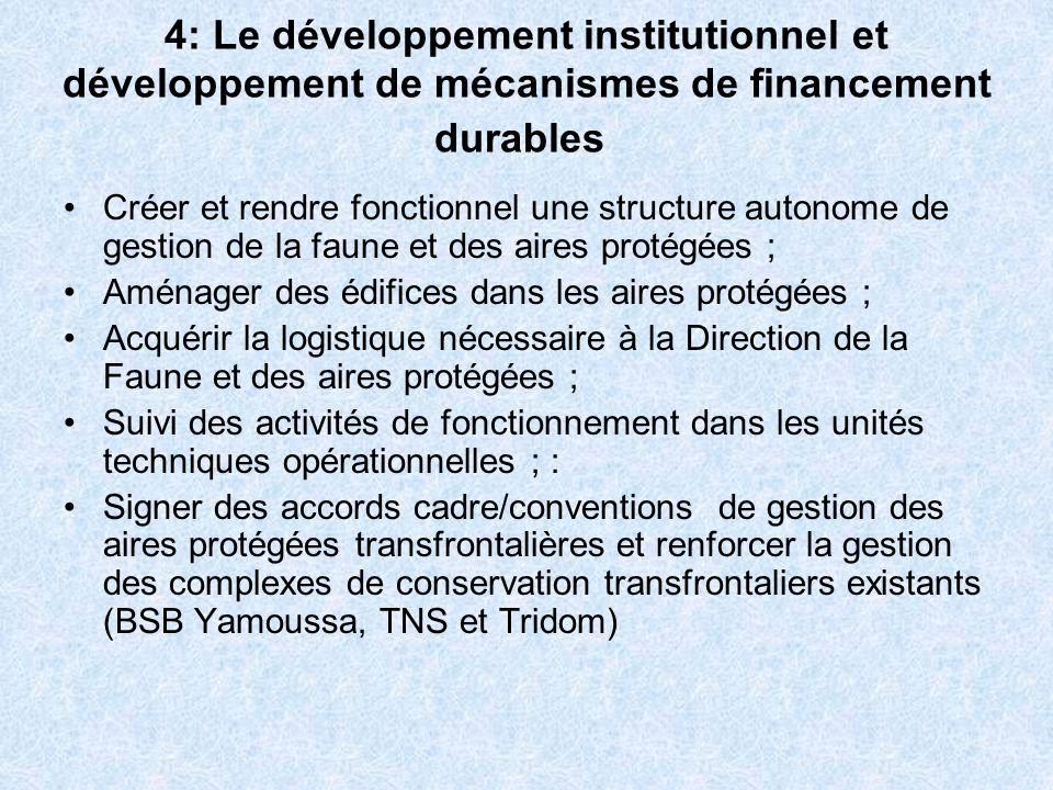 4: Le développement institutionnel et développement de mécanismes de financement durables Créer et rendre fonctionnel une structure autonome de gestio