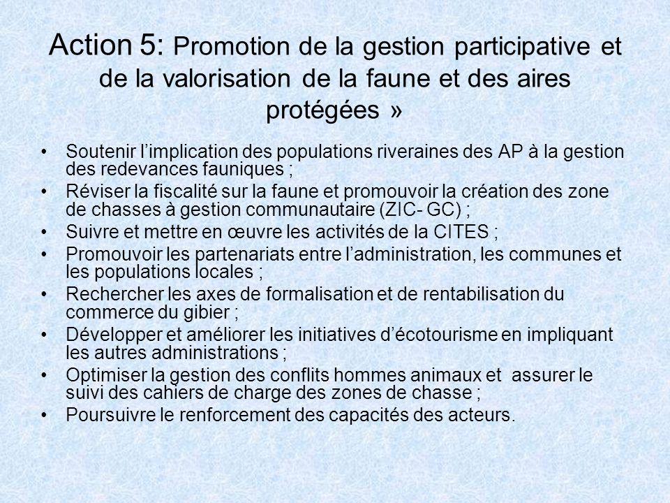 Action 5: Promotion de la gestion participative et de la valorisation de la faune et des aires protégées » Soutenir limplication des populations river