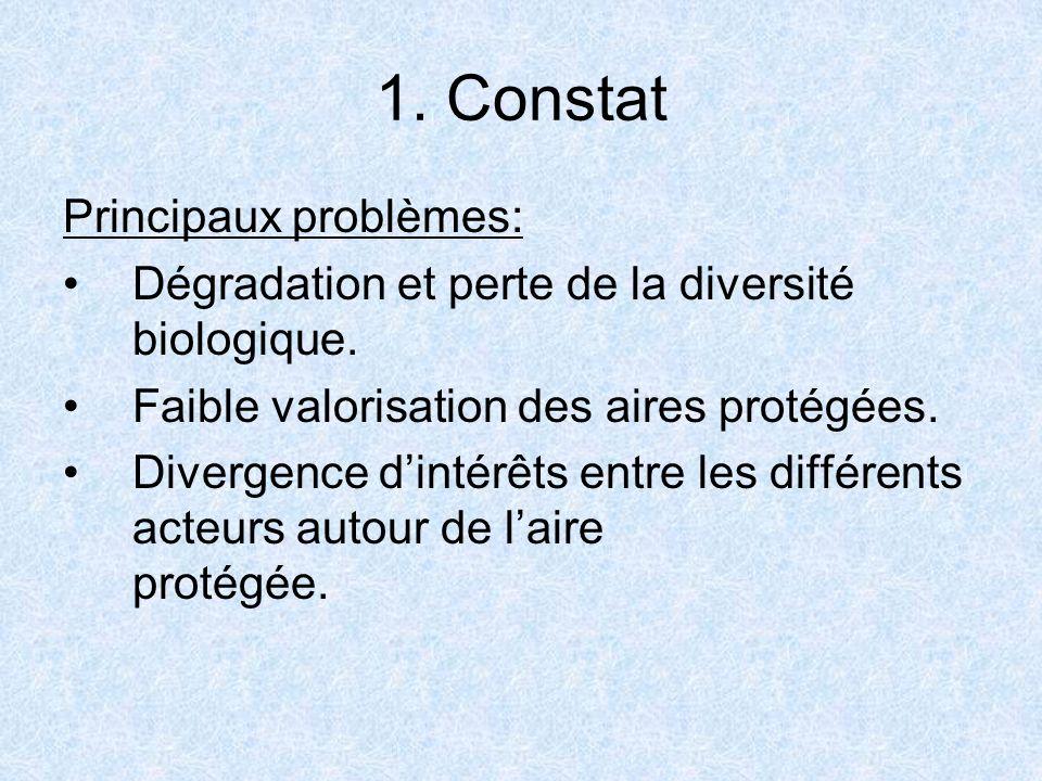1. Constat Principaux problèmes: Dégradation et perte de la diversité biologique. Faible valorisation des aires protégées. Divergence dintérêts entre