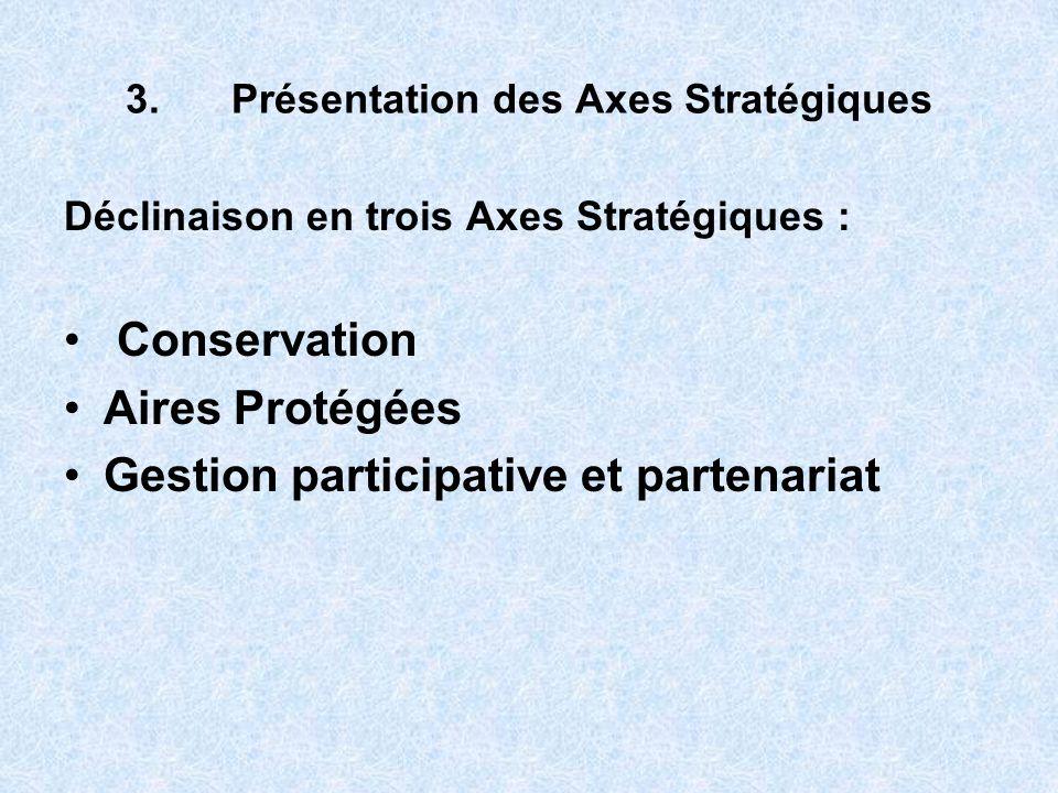 3.Présentation des Axes Stratégiques Déclinaison en trois Axes Stratégiques : Conservation Aires Protégées Gestion participative et partenariat