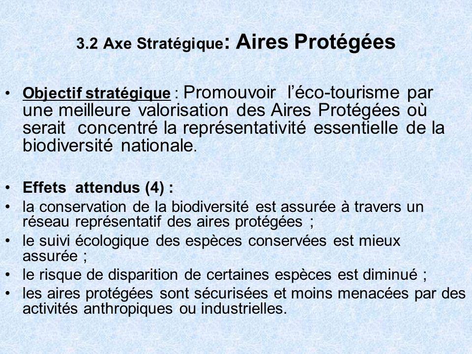 3.3 Axe Stratégique : Gestion Participative et Partenariat Objectif stratégique : promouvoir laccès des populations aux ressources fauniques et leur implication dans la gestion de la biodiversité Effets attendus (5) : laccès des populations à la gestion des ressources fauniques et des aires protégées est garanti ; les partenariats entre ladministration, les communes et les populations locales sont développés ; les conflits entre ladministration et les populations relatifs au besoin de préservation de la faune sont mieux gérés et maîtrisés,