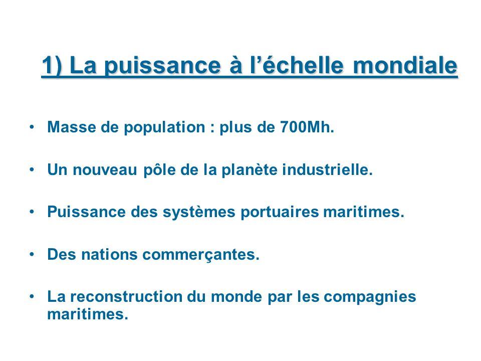 1) La puissance à léchelle mondiale Masse de population : plus de 700Mh. Un nouveau pôle de la planète industrielle. Puissance des systèmes portuaires