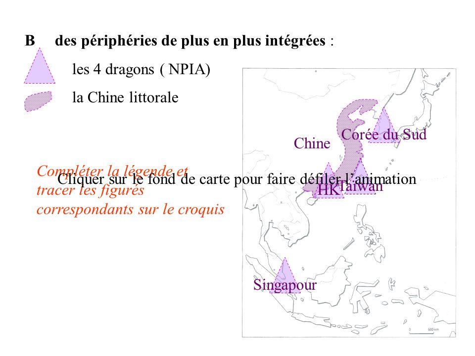B des périphéries de plus en plus intégrées : les 4 dragons ( NPIA) la Chine littorale Compléter la légende et tracer les figurés correspondants sur l