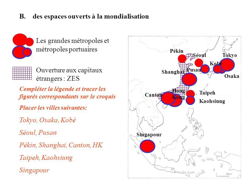 Compléter la légende et tracer les figurés correspondants sur le croquis Placer les villes suivantes: Tokyo, Osaka, Kobé Séoul, Pusan Pékin, Shanghai,