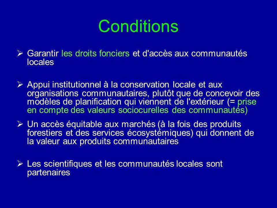 Conditions Garantir les droits fonciers et d'accès aux communautés locales Appui institutionnel à la conservation locale et aux organisations communau