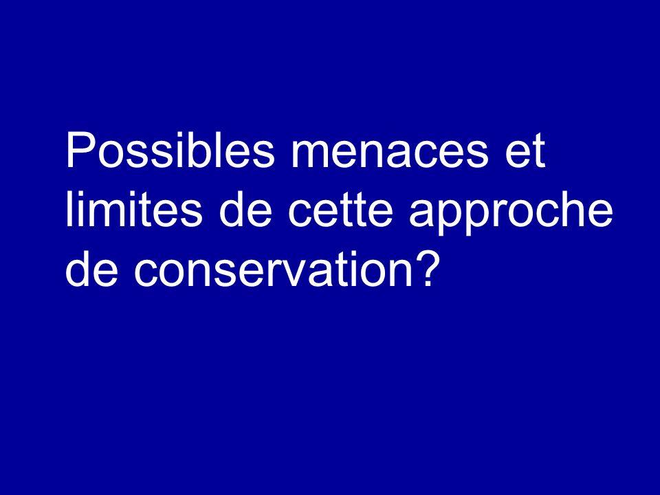 Possibles menaces et limites de cette approche de conservation?