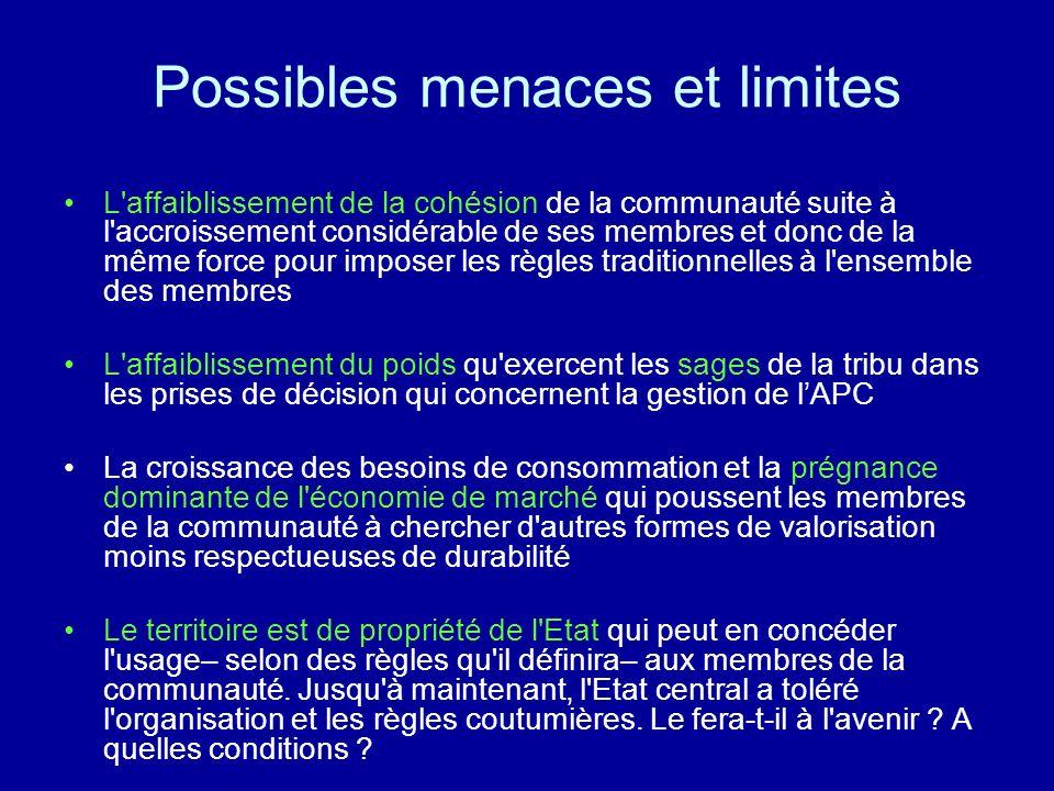 Possibles menaces et limites L'affaiblissement de la cohésion de la communauté suite à l'accroissement considérable de ses membres et donc de la même