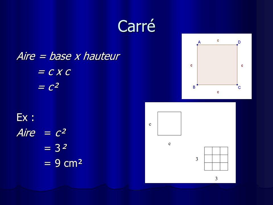 Rectangle Aire = base x hauteur = b x h = b x hEx : Aire = b x h = 3 x 5 = 15 cm² = 15 cm²