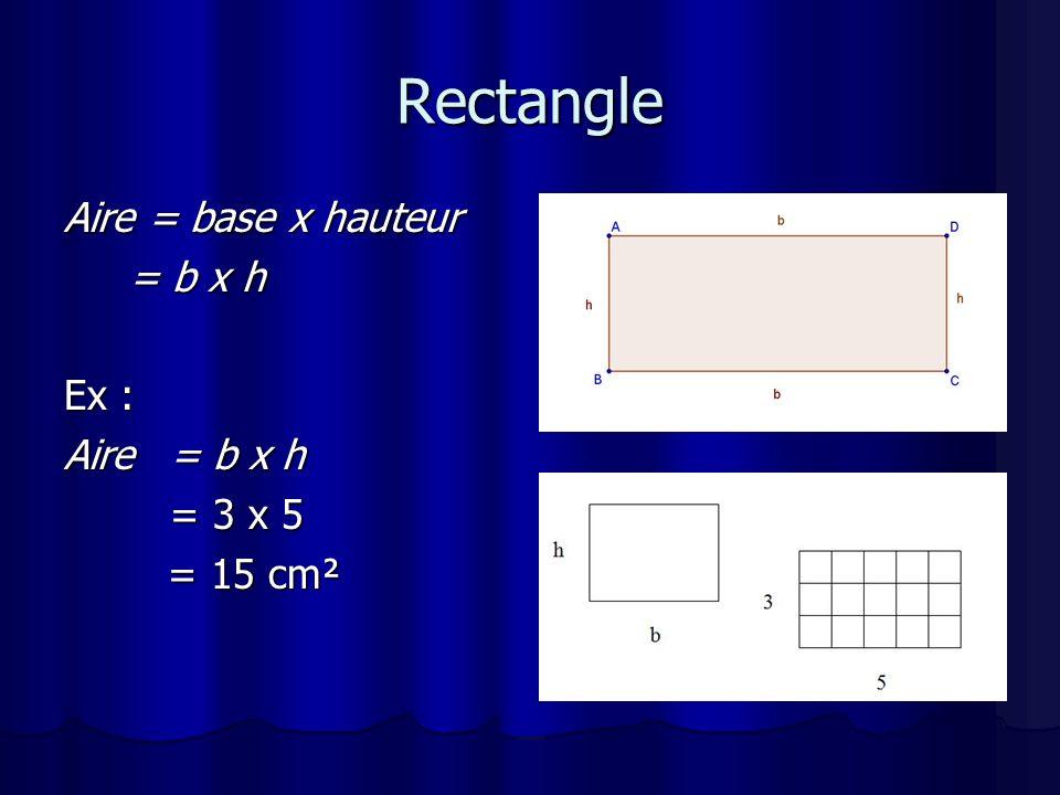 Parallélogramme Aire= base x hauteur = b x h = b x hEx : Aire = b x h = 4 x 3 = 12 cm ²